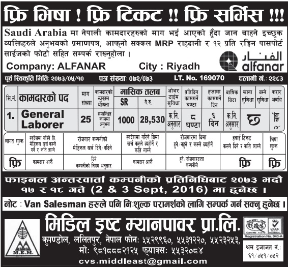 Free Visa, Free Ticket Jobs For Nepali In Saudi Arabia Salary- Rs.28,530/