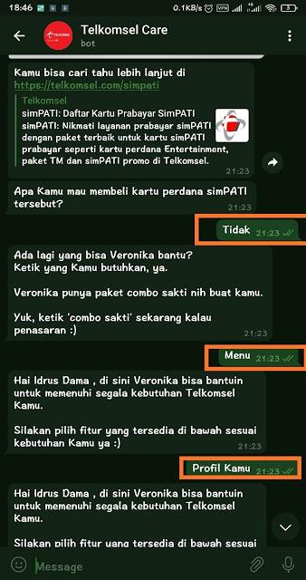 Chat Veronika di Facebook