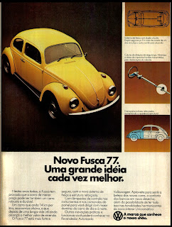 propaganda Volkswagen Fusca 77 - 1976. brazilian advertising cars in the 70. os anos 70. história da década de 70; Brazil in the 70s; propaganda carros anos 70; Oswaldo Hernandez;