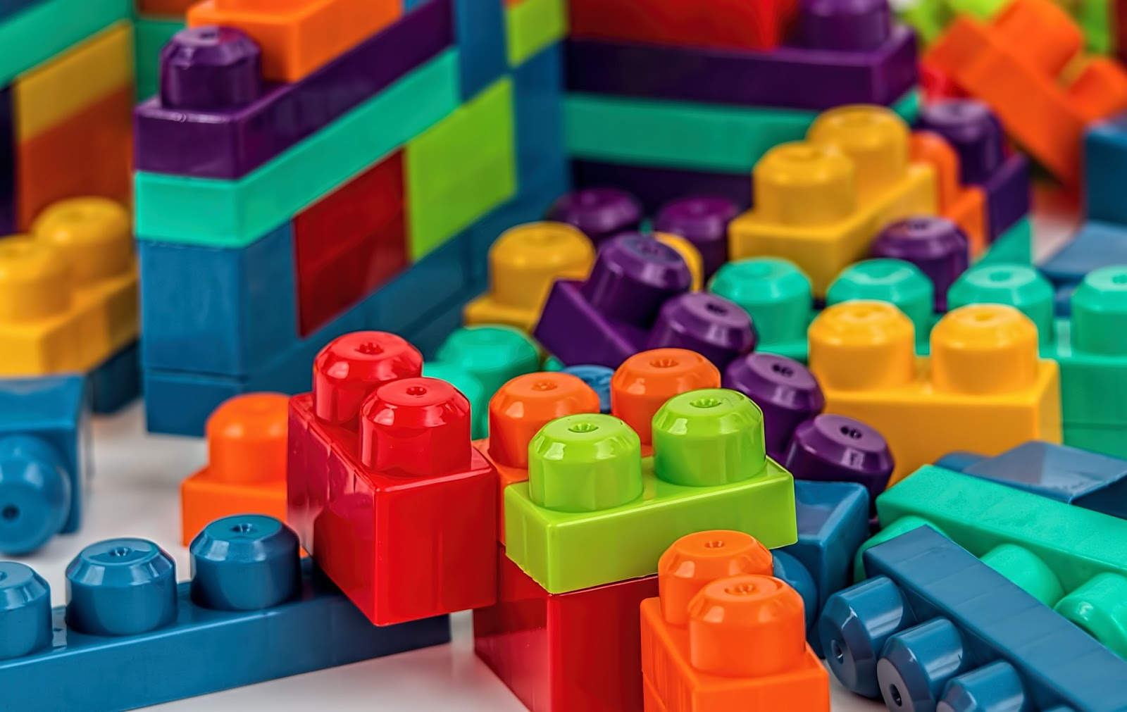 Selection of brightly coloured Duplo building blocks for kids