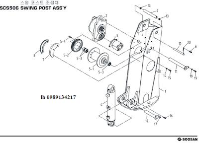 Trụ quay, xy lanh nâng cần và tời chính của Cẩu soosan 5 tấn SCS513-SCS514-SCS505-SCS506