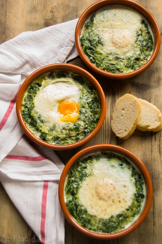 Espinacas con huevos a la crema #sinlactosa