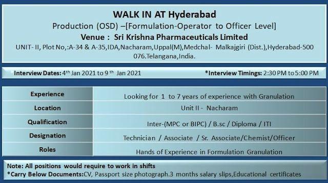 ITI/ Diploma/B.SC Job Vacancy Walk In Interview For Technician / Associate / Sr. Associate/ Chemist/ Officer in Sri Krishna Pharmaceuticals Limited