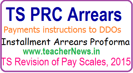 TS PRC Arrears Payments instructions to DDOs - Installment Arrears Proforma, Check list