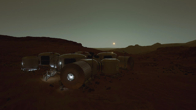 Mars 2030 VR image - base at sunset