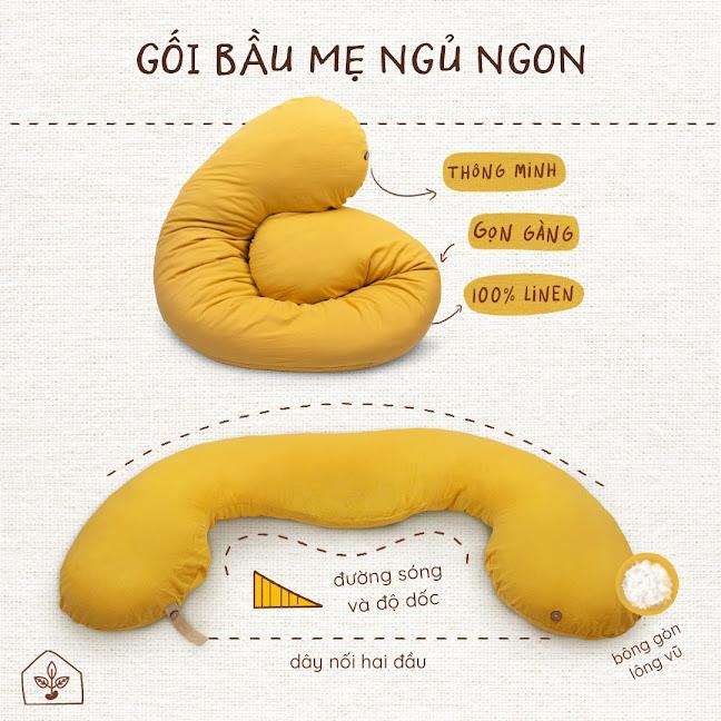 [A159] Gối Bầu Đậu Khuyết giúp mẹ cải thiện giấc ngủ với thiết kế thông minh.