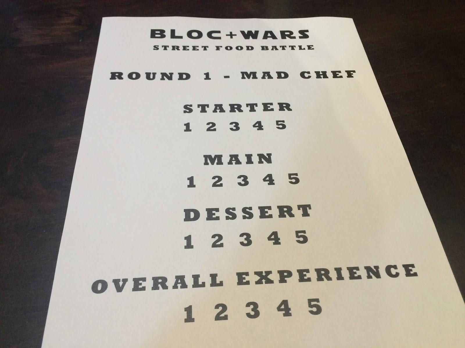 Bloc Glasgow Food Menu