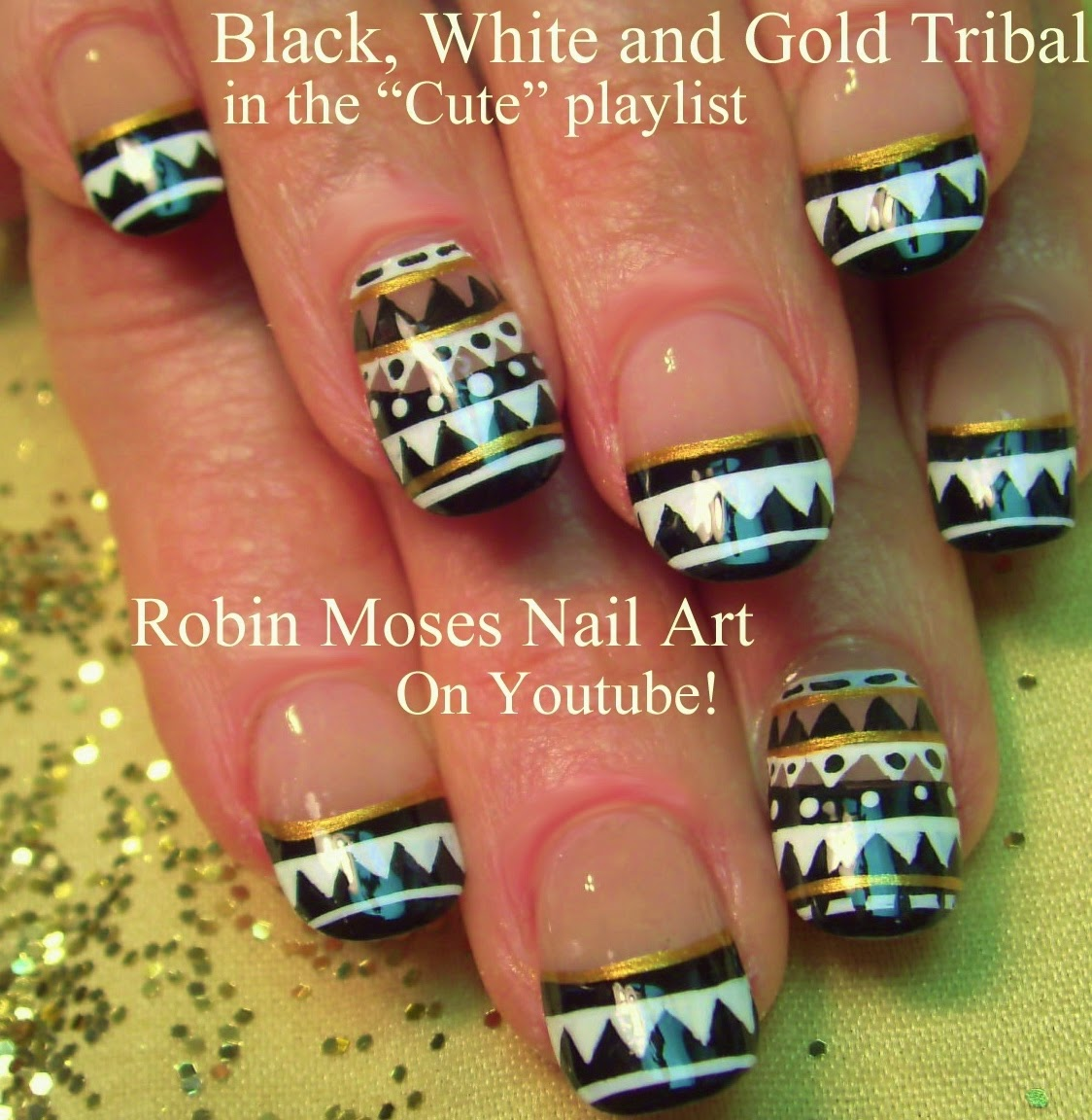 Nail Art By Robin Moses Flower Nails Black And White Nails