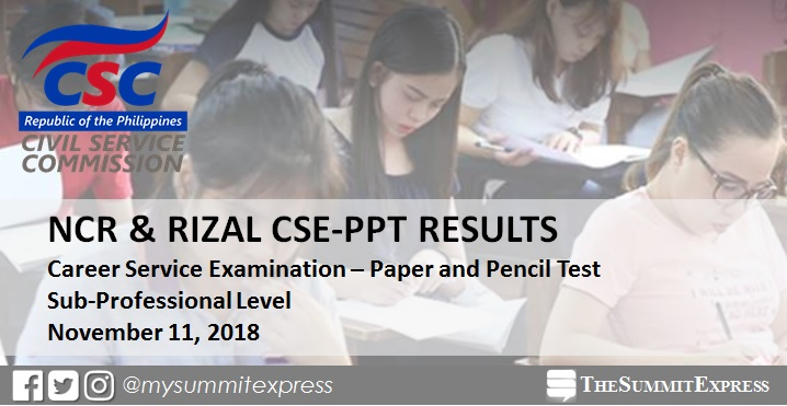 RESULT: NCR, Rizal November 2018 civil service exam CSE-PPT Sub-Prof passers