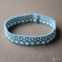 """купить Узкий голубой браслет из бисера """"Зимнее настроение"""""""