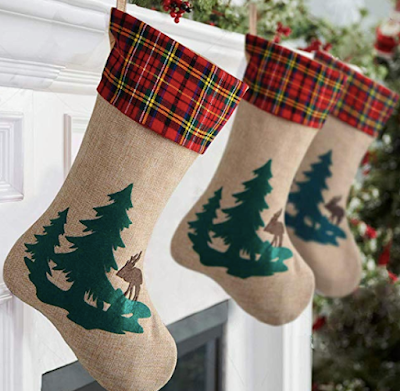 Kingstar Craft 18 inches Burlap Christmas Stocking with Reindeer in The Woodland Collection for Christmas Decorations