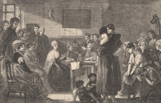 A grey on off-white woodcut engraving depicting a woman in Victorian dress, seated at a table with a book in front of her, several people of various ages are clustered around her. The people behind her, to the left of the image are all well-dressed in many layers, the women hatted with ornamental feathers, the men bespectacled and standing upright. Opposite the reading woman and to the right of the image the people are in short sleeves, or their clothes torn, some of them have their head in their hands weeping, the woman nearest has a bare shoulder and two children playing at her feet and one in her arms.