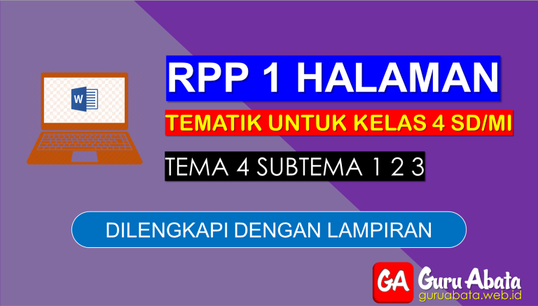 Contoh RPP 1 Lembar Kelas 4 Tema 4 Disertai Dengan Lampiran