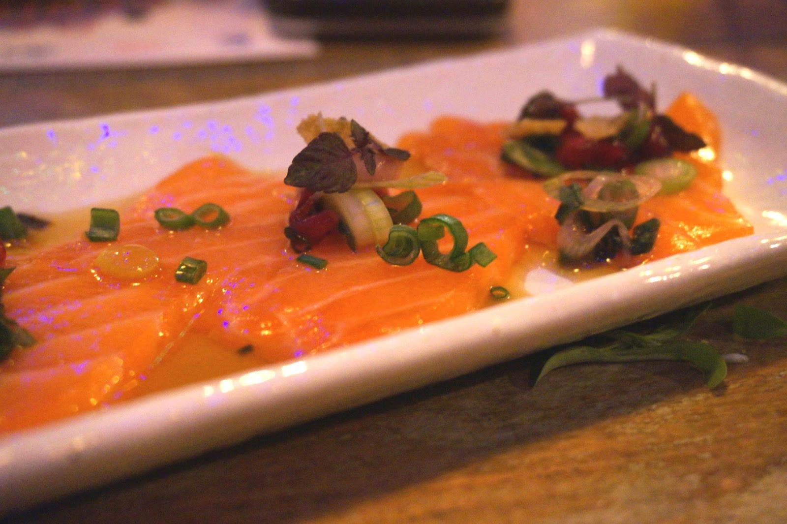 Salmon tiradito with Nikkei tiger's milk