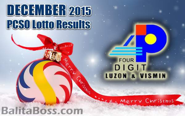 Image: December 2015 4-Digit Game PCSO Lotto Results