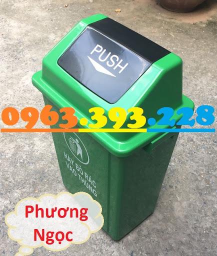 Thùng rác nhựa nắp bập bênh, thùng rác 60 Lít nắp lật, thùng rác công cộng NBB60L1