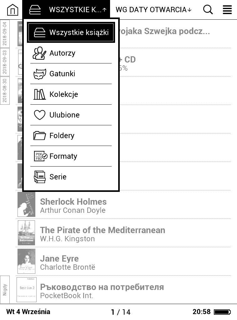 Opcje grupowania e-booków w bibliotece PocketBook Basic Lux 2