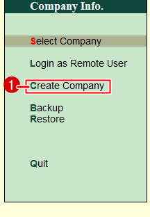 Company Creation In Tally