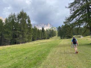Hiking up a ski slope to reach Rifugio Mietres.