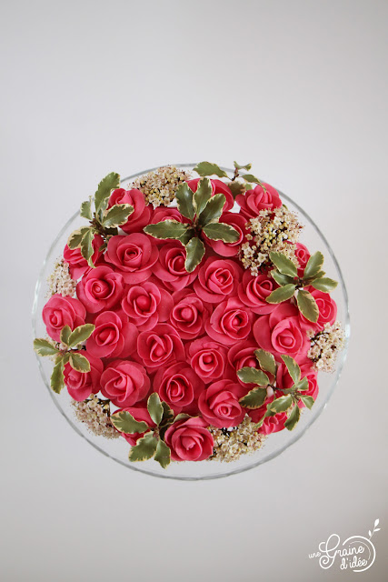 Gâteau Bouquet de Roses Anniversaire Printemps Recette pas à pas étapes par étapes Cake Design Surprise