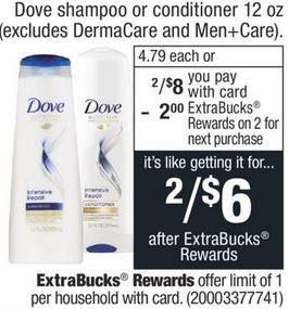 Dove shampoo or conditioner