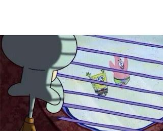 Polosan meme spongebob dan patrick 31 - squidward melihat aksi gila spongebob dan patrick