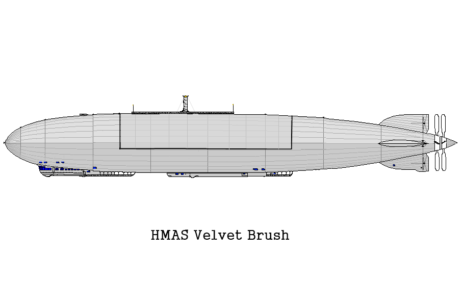 HMAS Velvet Brush by Kevin Jepson based on the Graf Zeppelin. Original image from Wolfs Shipyard
