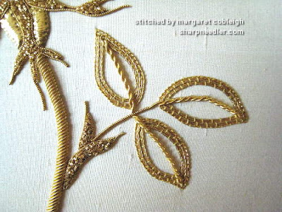Detail of goldwork leaves from RSN goldwork rose project