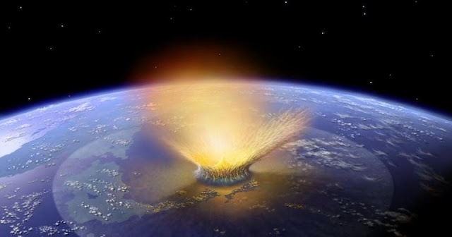 An illustration of an asteroid impacting Earth. (Image courtesy NASA.)