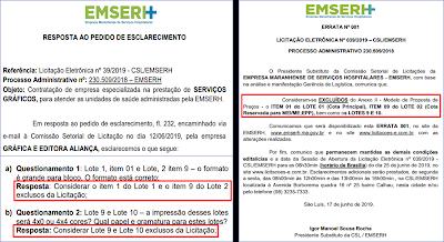 Licitação de mais de R$ 60 milhões da EMSERH tem indício de fraude e direcionamento