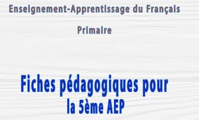 fiches pédagogique pour la 5éme aepجذاذات اللغة الفرنسية المستوى الخامس