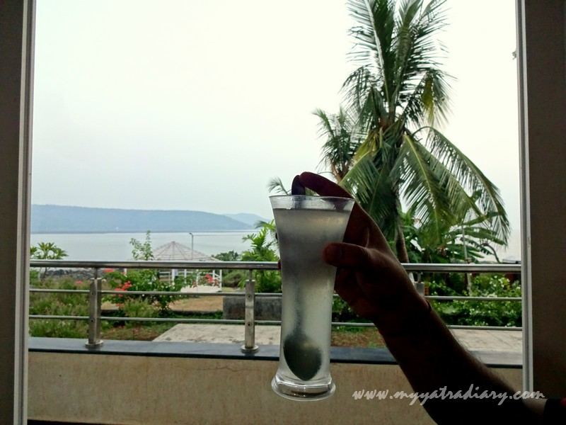 Lime juice at the in house restaurant at MTDC Resort Harihareshwar
