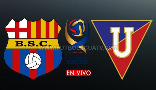 Barcelona SC y Liga de Quito luchan en vivo y en directo por la final de la SuperCopa Ecuador desde las 15:00 horario local, siendo transmitido por CNT Sports a ejecutarse en el campo Banco De Guayaquil.  Con arbitraje principal de Roberto Sánchez.