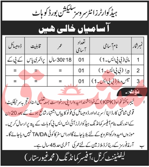 Headquarters Inter Services Selection Board ISSB Job Advertisement in Pakistan Jobs 2020 - 2021