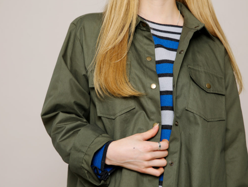 Snap Button Asymmetric Field Shirt