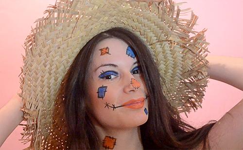 maquillaje de espantapájaros fácil y bonito para Halloween
