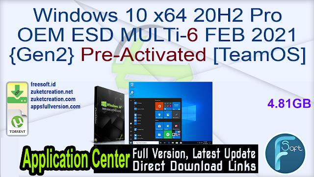 Windows 10 x64 20H2 Pro OEM ESD MULTi-6 FEB 2021 {Gen2} Pre-Activated [TeamOS]