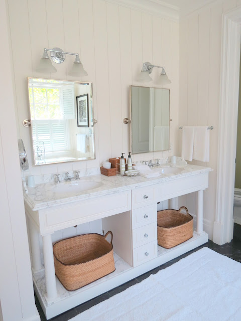 white paneled walls in bath white vanity marble