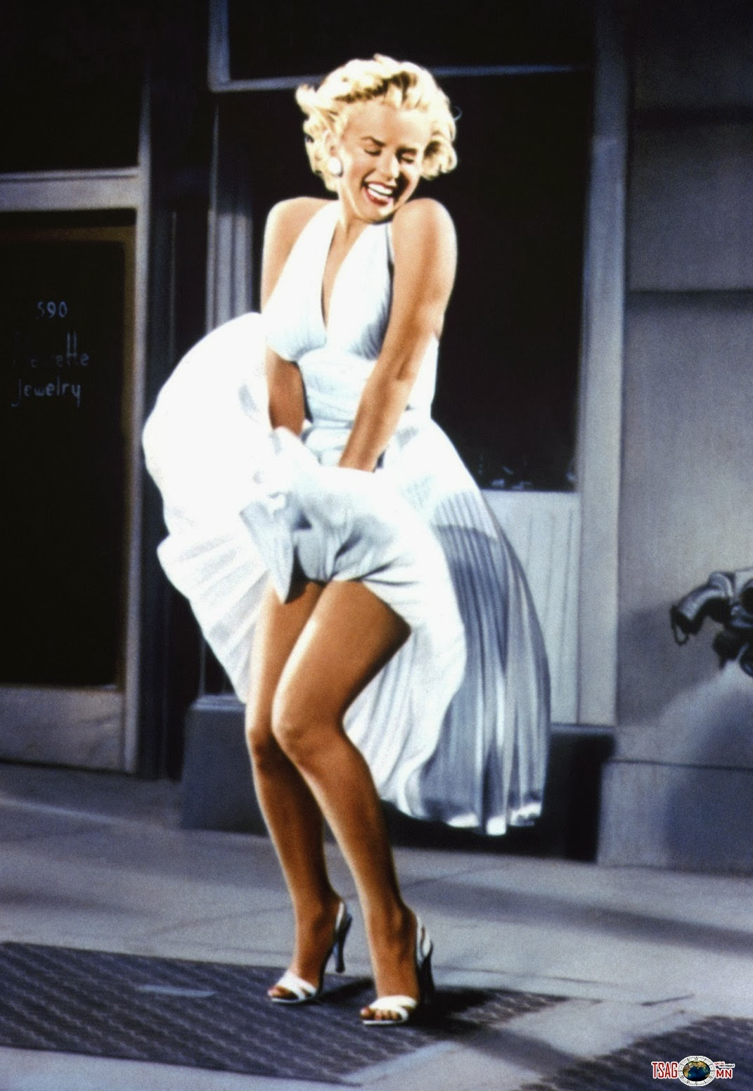 Marilyn Monroe in the iconic white dress.