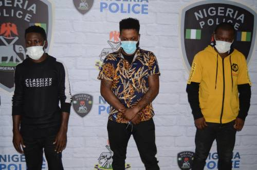 Nigerian police and Interpol arrest Edo yahoo boy who owns a filling station with two other accomplice.