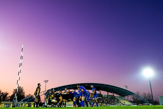 A scrum during the Guinness PRO14 Round 4 match between Zebre and Leinster at the Stadio Sergio Lanfranchi in Parma, Italy.