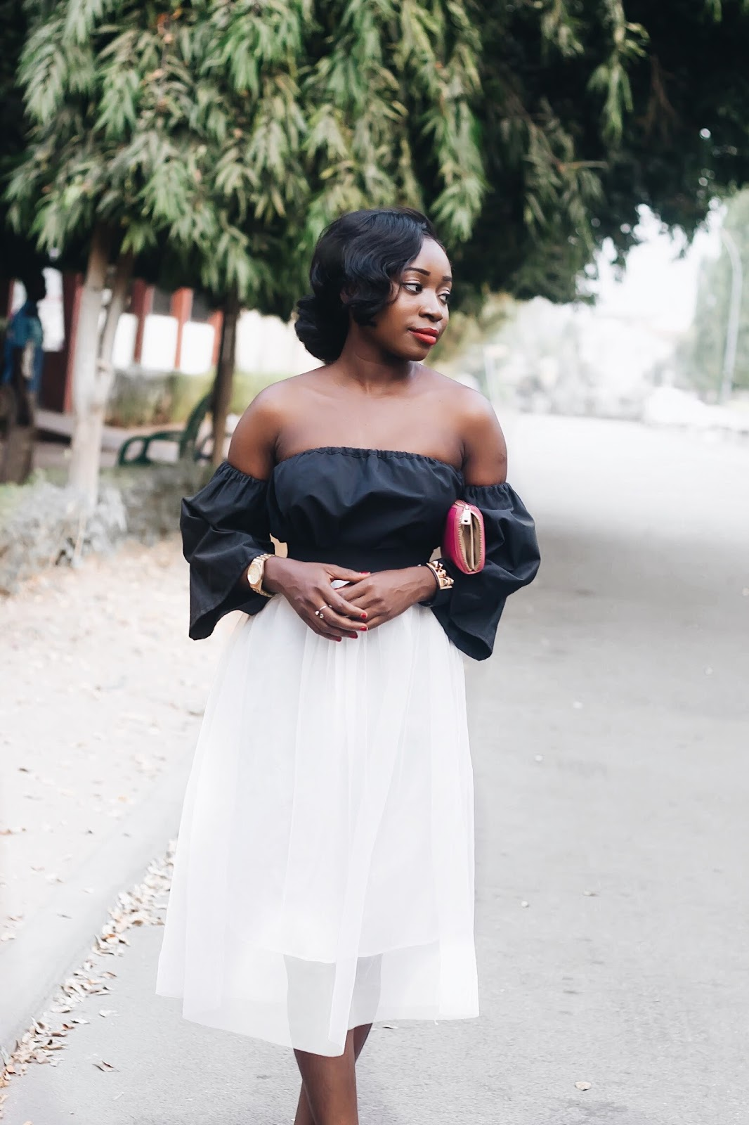 off the shoulder top and tulle skirt