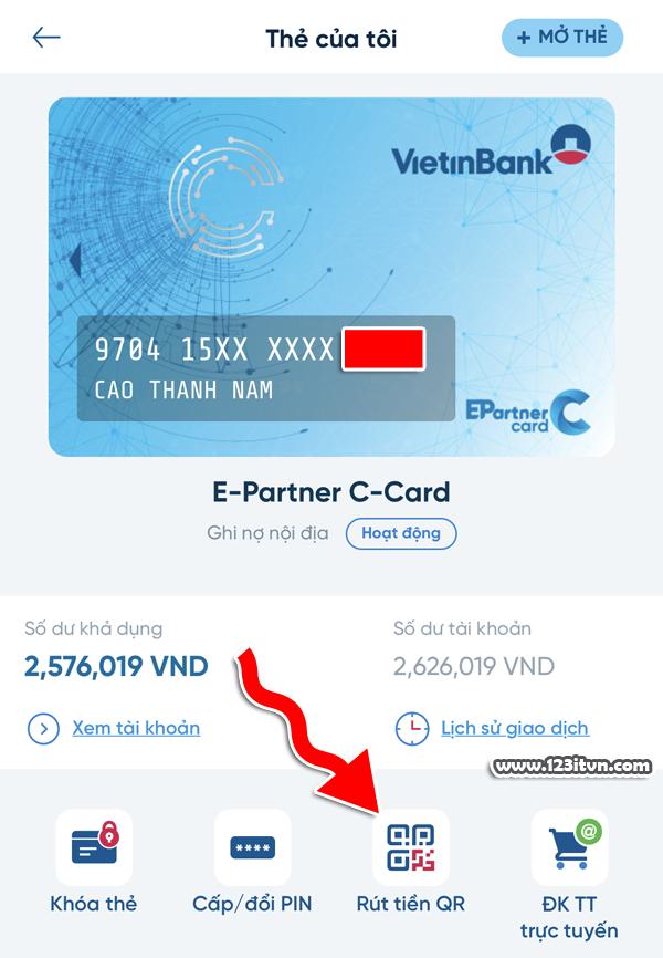 Rút tiền bằng mã QR tại ATM Vietinbank