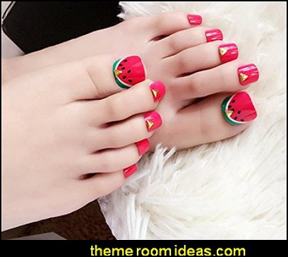 Watermelon Toenails 24pcs Red Green Fake Toe Nails