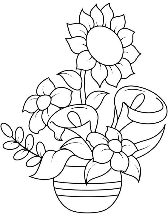 Tranh tô màu chậu hoa