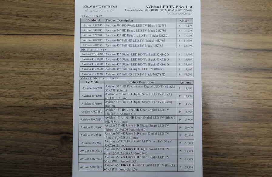 AVision LED TV Price List