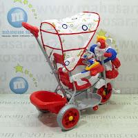 Sepeda Roda Tiga Family F823FT Robot Musik Dobel Bintang Ban Jumbo Red