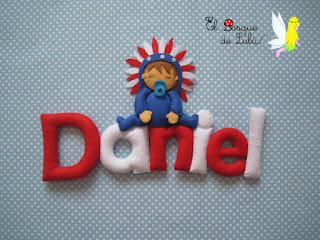 nombre-fieltro-felt-feltro-elbosquedelulu-Daniel-Atletico-name-banner-decoración-infantil-regalo-personalizado-rojiblanco-colchonero