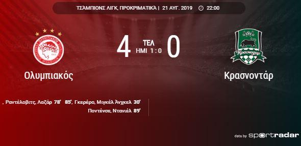 Ο ΟΛΥΜΠΙΑΚΟΣ έθαψε με 4-0 τη Κρασνοντάρ!!!