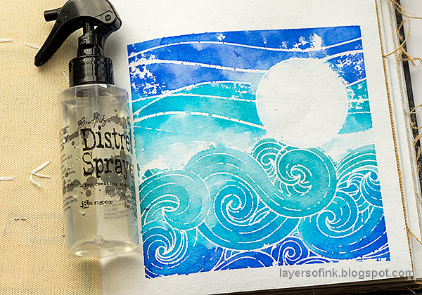 Layers of ink - Seascape Journal Page by Anna-Karin Evaldsson. Distress Ink stamping.